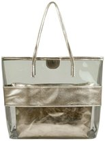 Micom Tawny Semi-clear Tote Bags Stripe PVC Beach Shoulder Bag