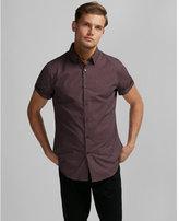 Express Micro Print Short Sleeve Cotton Button-down Shirt