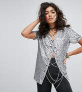 Sacred Hawk Chain Lace Up Sequin Top