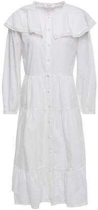 Sea Exclusive Tiered Lace-trimmed Cotton-poplin Dress