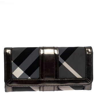 Burberry Metallic Grey Beat Check Nylon and Patent Leather Penrose Continental Wallet