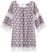 Sequin Hearts Lace-Trim Shift Dress, Big Girls (7-16)