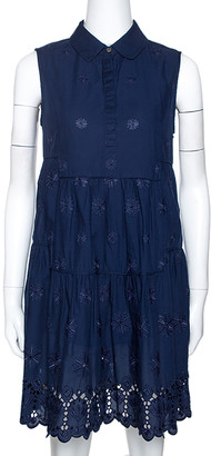 Diane von Furstenberg Navy Blue Embroidered Eyelet Cotton Kit Dress M