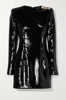 Balmain Crystal-embellished Sequined Crepe Mini Dress - Black