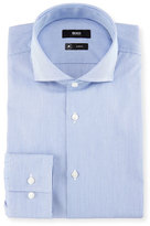 BOSS Slim-Fit Micro-Stripe Travel Dress Shirt, Blue/White