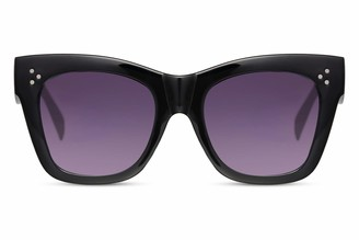 Cheapass Sunglasses Womens' Designer Style Black Thick Frame with Gradient Lenses and Corner Studs