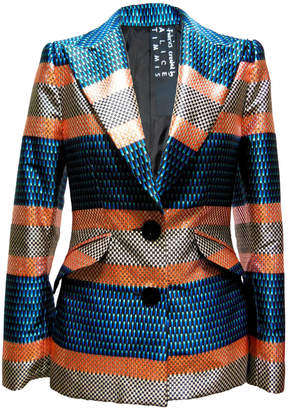 Anciela Silk Checkerboard Jacquard Blazer