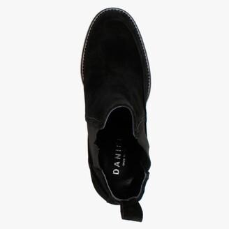 Daniel Naro Black Suede Wedge Chelsea Boots