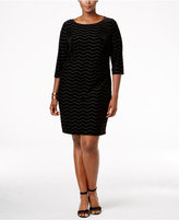 Jessica Howard Plus Size Velvet-Flocked Chevron Dress