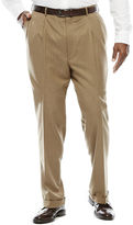 STAFFORD Stafford Travel Tan Herringbone Pleated Suit Pants - Big & Tall