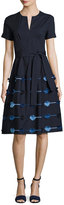 Lela Rose Belted A-Line Dress with Embroidered Skirt, Navy