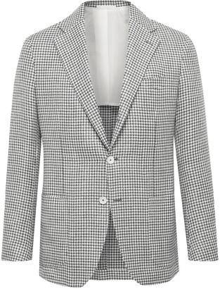 De Petrillo - Posillipo Slim-fit Houndstooth Wool And Linen-blend Blazer - Gray