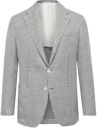 Posillipo Slim-Fit Houndstooth Wool And Linen-Blend Blazer