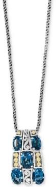 "Effy London Blue Topaz 18"" Pendant Necklace (4-1/5 ct. t.w.) in Sterling Silver & 18k Gold"
