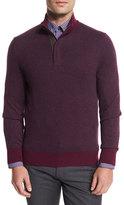 Ermenegildo Zegna Birdseye Cashmere-Blend Quarter-Zip Sweater, Purple