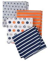 Gerber ; Boys' 4 pack Blanket - Sports Print Blue One Size