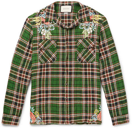 Gucci Embroidered Checked Crinkled-Linen Shirt