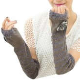 WINSON Bridal Wedding Arm Warmer Half Long Gloves Warm Fingerless Gloves Winter New