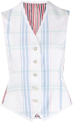 Thom Browne Check Print Striped Waistcoat