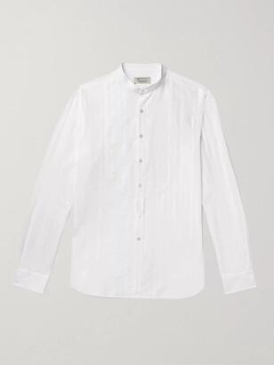 Mao Slim-Fit Grandad-Collar Textured-Cotton Shirt