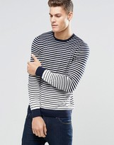 Hugo By Hugo Boss Jumper With Breton Stripe In Navy