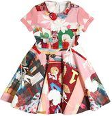 Simonetta Printed Knitted Cotton & Satin Dress