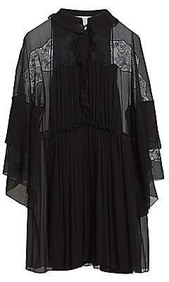 Chloé Women's Lace Detail Pleated Silk Dress