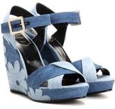 Roger Vivier Denim Patchwork Wedge Sandals