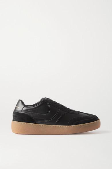 Dries Van Noten Leather And Suede Sneakers - Black