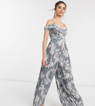 Forever New Petite drape sleeve jumpsuit in dusky floral print