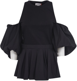 Alexander McQueen Shoulder-cut Pleated Hem Blouse