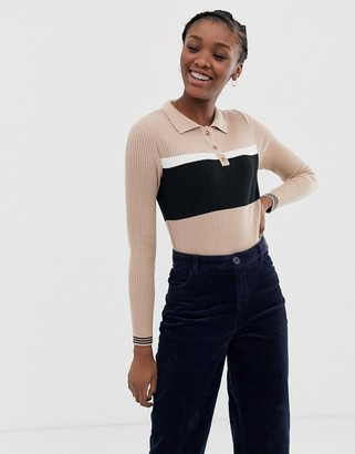 Asos Design DESIGN long sleeve knitted polo top-Stone
