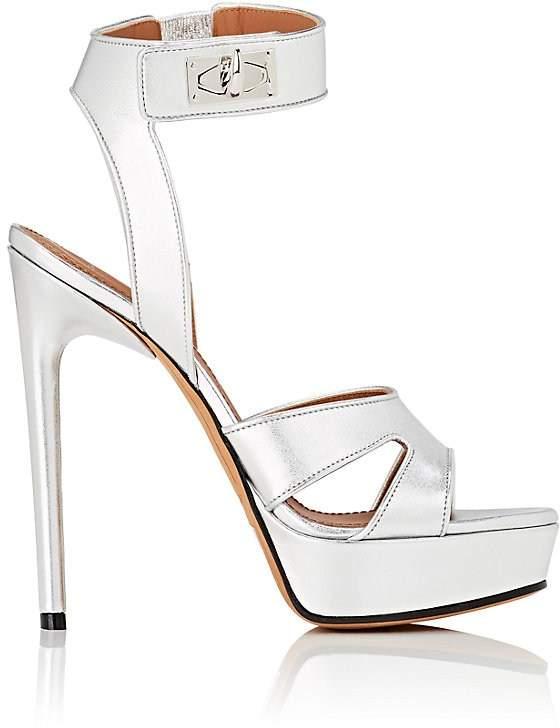 Givenchy Women's Shark Line Metallic Leather Platform Sandals