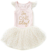 Mud Pie Baby Girls 12-18 Months I'm One Today Birthday Tank Top & Dotted Tutu Set