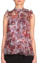 Erdem Camelia Ruffled Floral-Print Silk Top