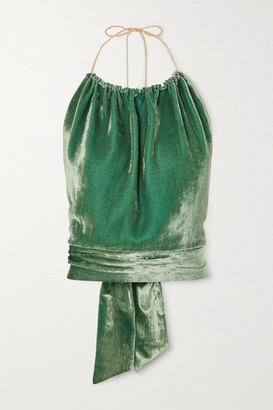 Harmur HARMUR - Open-back Silk-blend Velvet Halterneck Top - Green