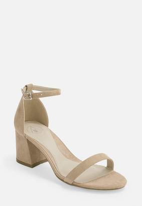 Missguided Nude Wide Fit Mid Block Heel Barely There Heels