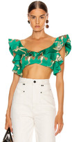 Alexis Hoshi Top in Jade Green Orchid   FWRD