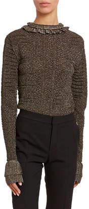 Chloé Metallic-Knit Ruffled High-Neck Sweater