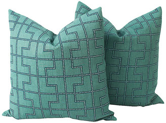 One Kings Lane Vintage Peacock Linen Bleecker Pillows - Set of 2 - Ivy and Vine - peacock blue/ivory