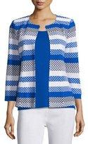 Misook Tailored 3/4-Sleeve Striped Jacket