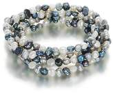 Orchira Set of 5 white, silver grey and black 4-5mm baroque pearl elastic bracelets