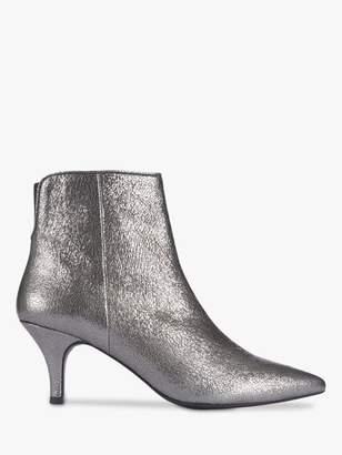 Mint Velvet Lorna Metallic Leather Ankle Boots, Dark Grey
