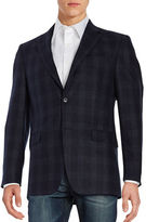 Lauren Silver Plaid Two-Button Wool Jacket