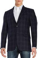 Michael Kors Plaid Two-Button Wool Jacket