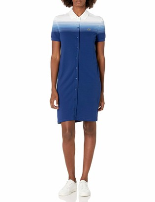 Lacoste Women's Short Sleeve Button Down Ombre Polo Dress