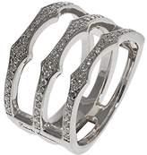 Babette Wasserman Women's Sterling Silver Round Clear Cubic Zirconia Triple Spear Band Ring - of Size M