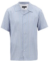 Rag & Bone Avery Camp-collar Striped Poplin Shirt - Mens - Blue Multi