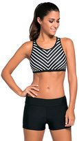 Cfanny Women's Stripes Racerback Tank Top Tankini Swimsuit