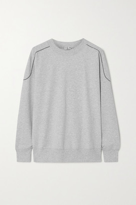 Brunello Cucinelli Bead-embellished Melange Stretch-cotton Jersey Sweatshirt - Light gray